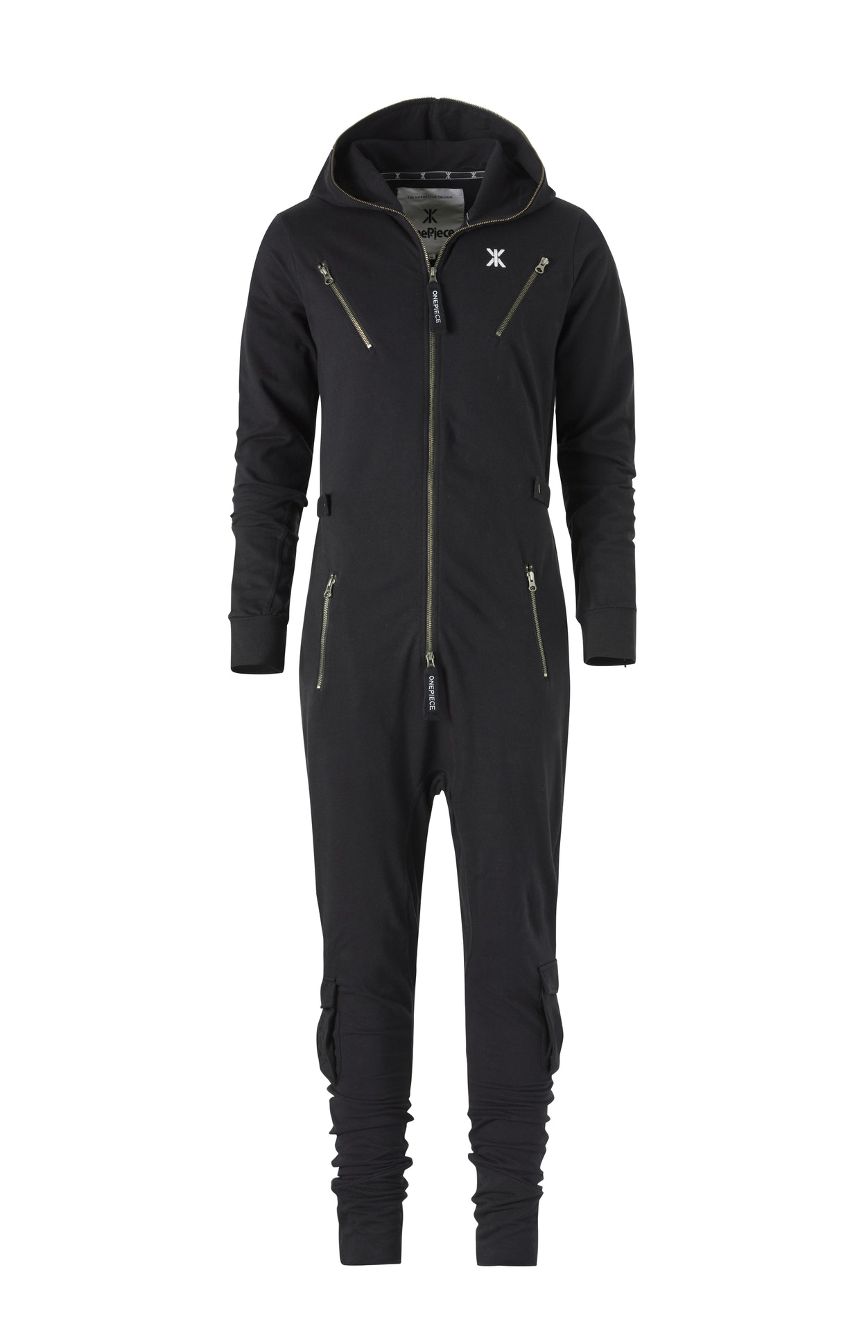 Air Jumpsuit Black Fitted black jumpsuit made from lightweight premium cotton. The jumpsuit has workwear inspired details, with metal zippers, cargo leg pockets and buttoned waist tightener, as well as a slightly dropped crotch.
