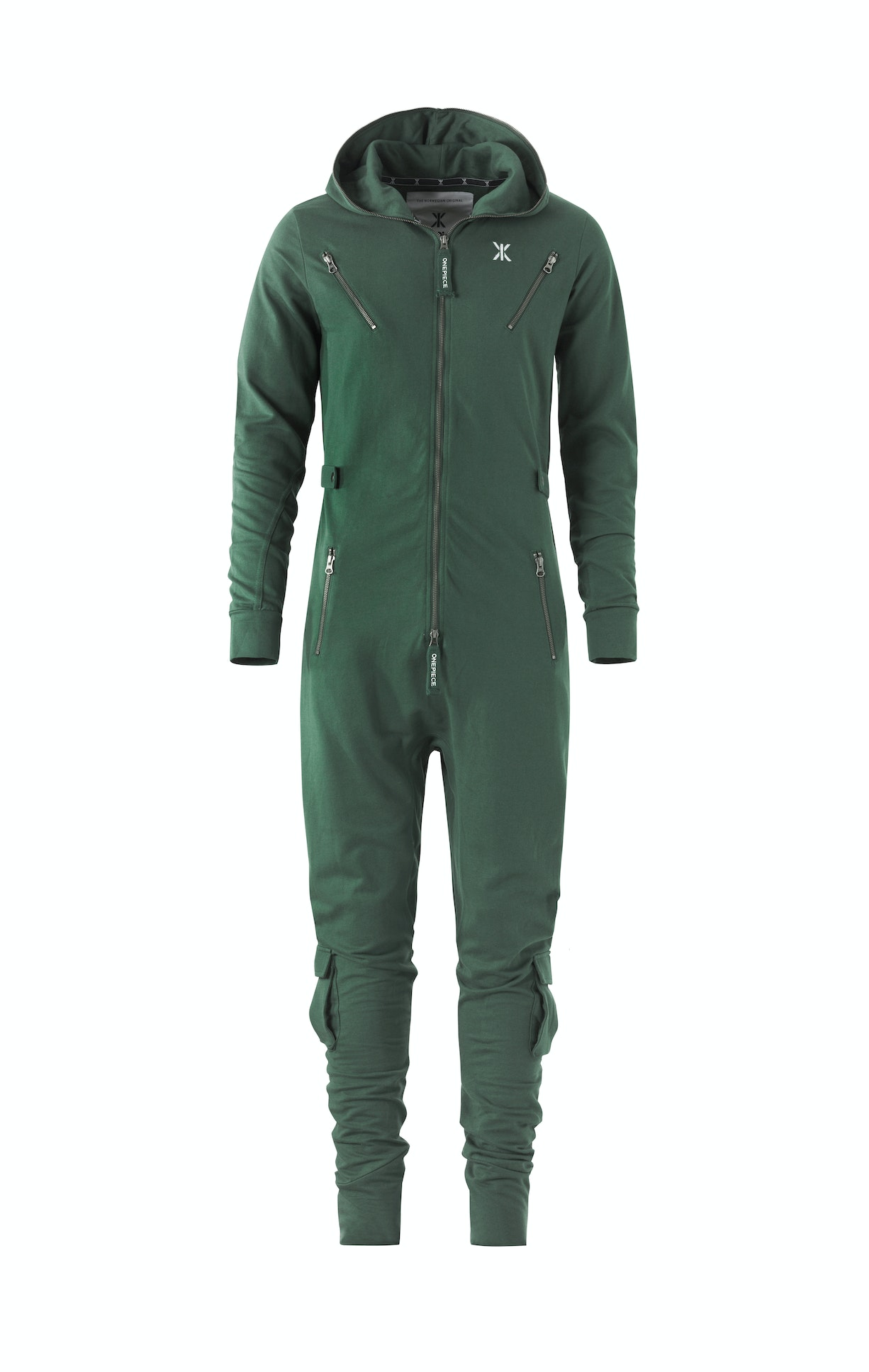 Air Jumpsuit Jungle Green Fitted green jumpsuit made from lightweight premium cotton. The jumpsuit has workwear inspired details, with metal zippers, cargo leg pockets and buttoned waist tightener, as well as a slightly dropped crotch.