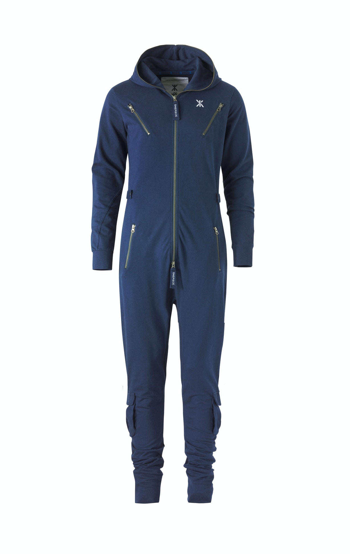 Air Jumpsuit Midnight Blue Fitted blue jumpsuit made from lightweight premium cotton. The jumpsuit has workwear inspired details, with metal zippers, cargo leg pockets and buttoned waist tightener, as well as a slightly dropped crotch.
