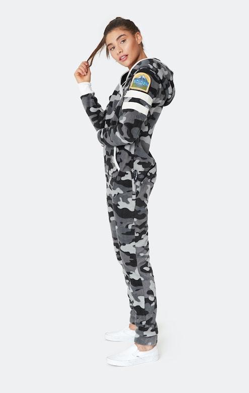 Onepiece Alps Camo Fleece Jumpsuit Black