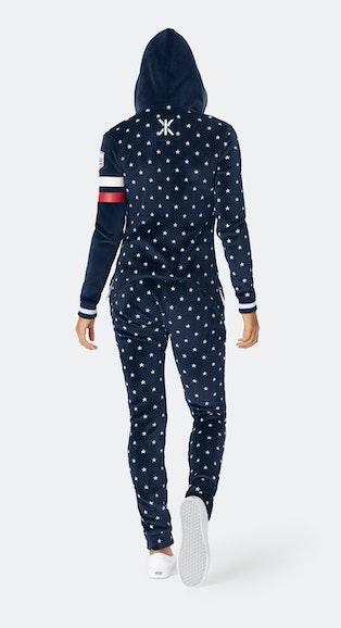 Onepiece Après-ski Star Slim Jumpsuit Marineblau