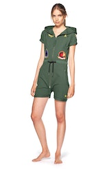 Onepiece Aviator Fitted Short Jumpsuit Jungle Green