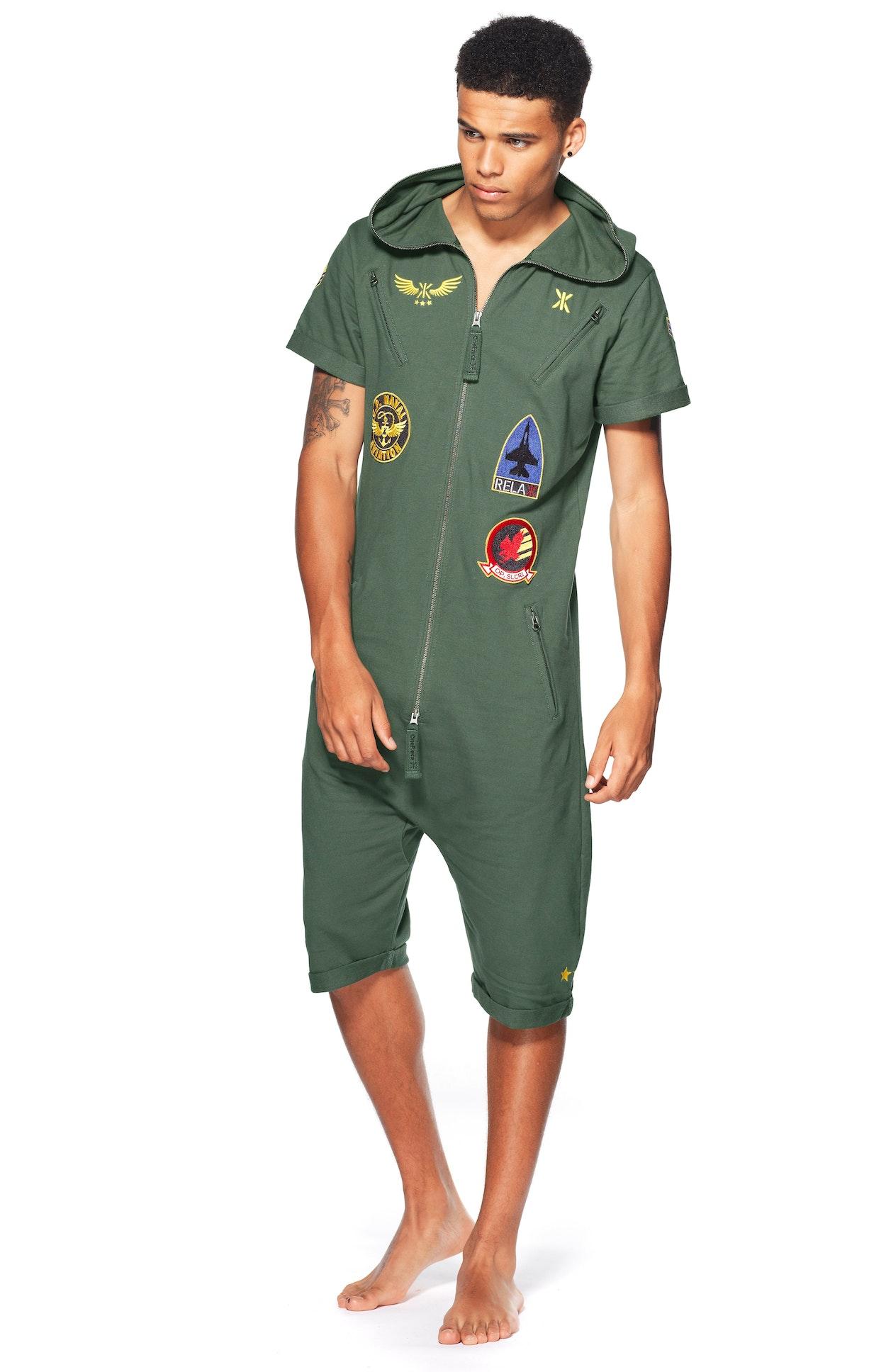 aviator short jumpsuit jungle green. Black Bedroom Furniture Sets. Home Design Ideas