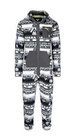 Onepiece Aztec Fleece Jumpsuit Black/white