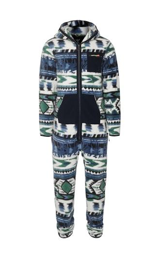 Onepiece Aztec Fleece Jumpsuit Blue print