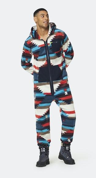 Onepiece Aztec Fleece Jumpsuit Multi print
