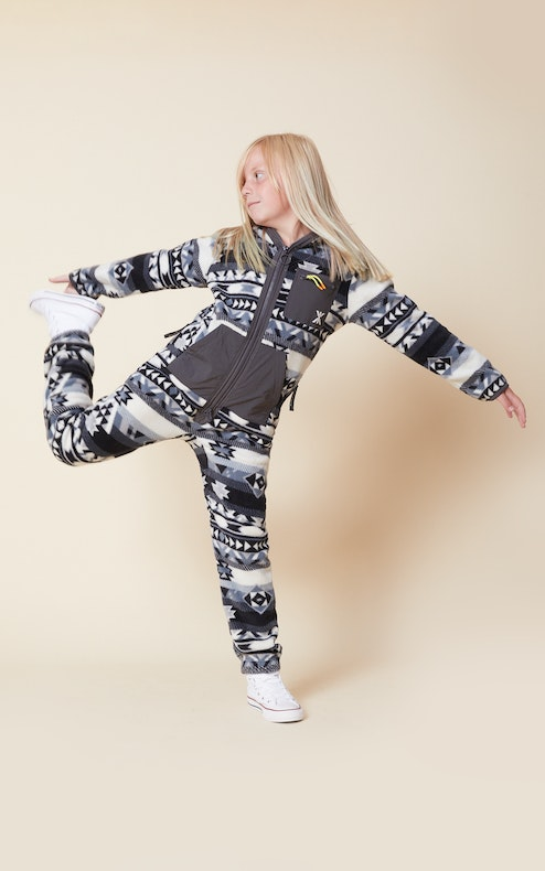 Onepiece Aztec KIDS Fleece Jumpsuit Black/white
