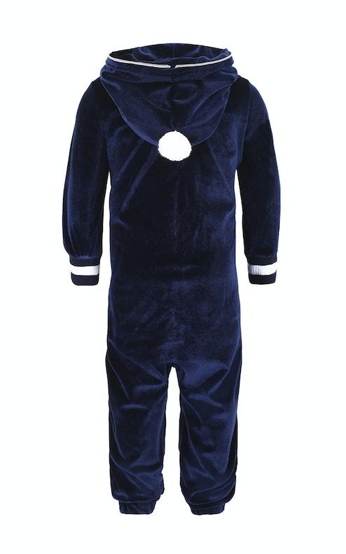 Onepiece Baby Velour Jumpsuit Blue
