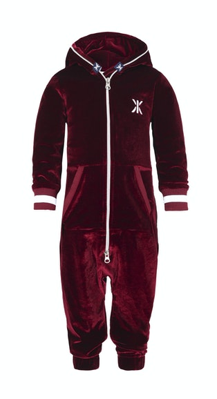 68b01a7c0ea7 Onepiece Baby Velour Jumpsuit Red