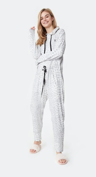 Onepiece Supersoft Bamboo Jumpsuit Muted Leopard