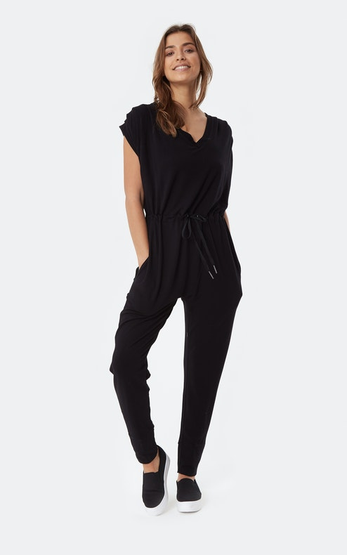 Onepiece Supersoft Sleeveless Bamboo Jumpsuit Schwarz
