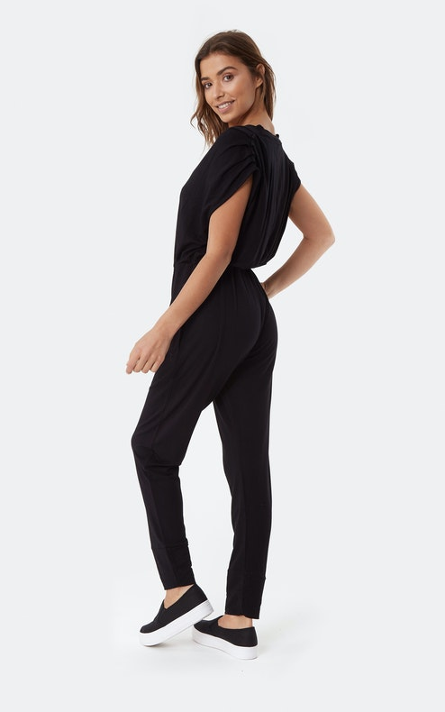 Onepiece Supersoft Sleeveless Bamboo Jumpsuit Black