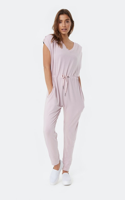 Onepiece Supersoft Sleeveless Bamboo Jumpsuit Faded Pink