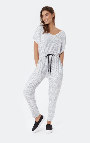 Onepiece Supersoft Sleeveless Bamboo Jumpsuit Muted Leopard