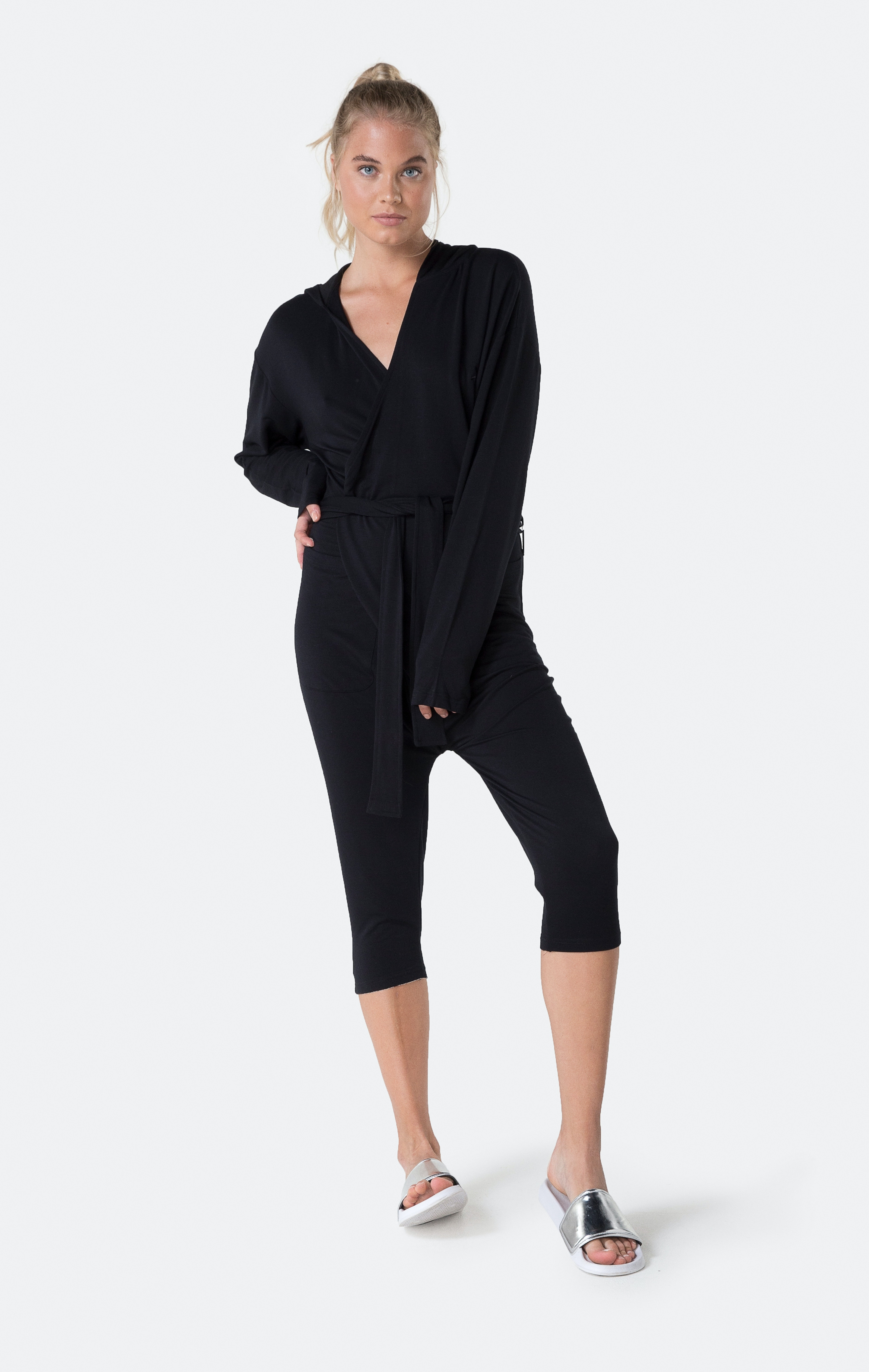 Anjali Loose Fitting OnePiece Womens Jumpsuit Romper in Black Bamboo Fabric