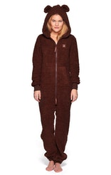 Onepiece Bear Teddy Fleece Jumpsuit Brown