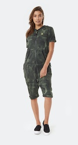 Onepiece Break Printed Short Jumpsuit Army