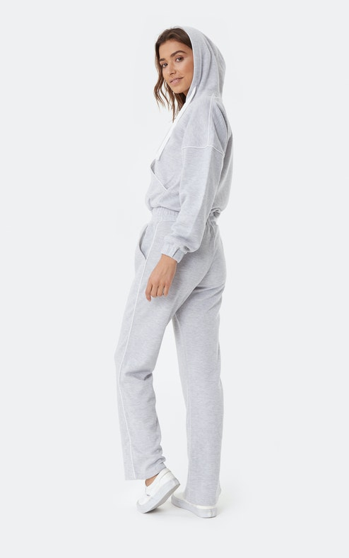 Onepiece Woke Up Like This Jumpsuit Gris chiné
