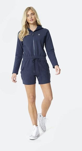 Onepiece Cargo Short Slim Jumpsuit Navy