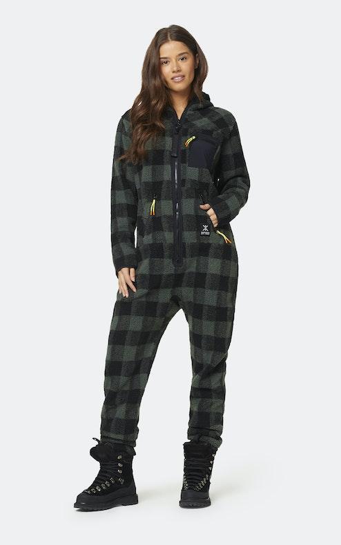 Onepiece Checkered Fleece Jumpsuit Green