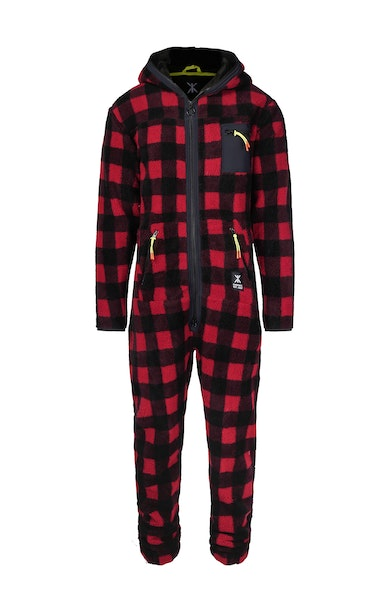 Onepiece Checkered Fleece Jumpsuit 黑(有拉鍊)