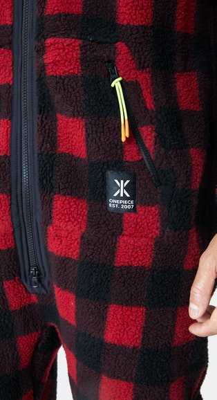 Onepiece Checkered Fleece Jumpsuit Red