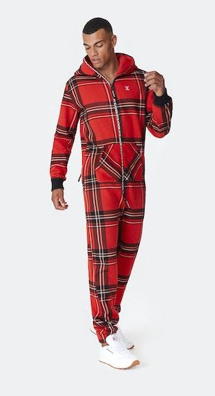 Onepiece Checkered Onesie Red