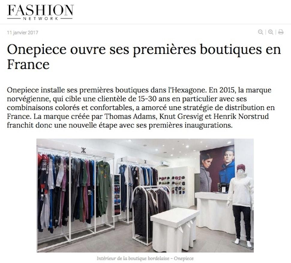 onepiece sur fashionnetwork à propos de l'ouverture de boutiques