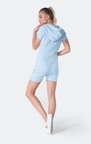 Onepiece Fitted Short Jumpsuit Soft Blue