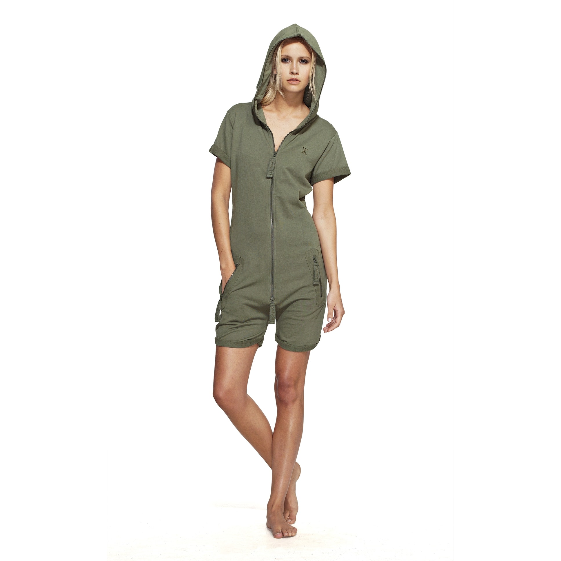 4590b70887 Onepiece Fitted Lightweight Ladies Short Onesie in Army Green