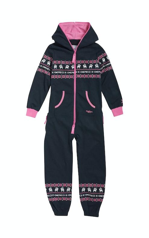 Onepiece Folklore Kids Jumpsuit Midnight Blue / Pink