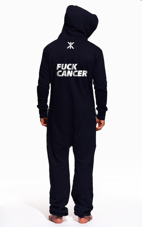 Onepiece Fuck Cancer Original Onesie Navy with print on back