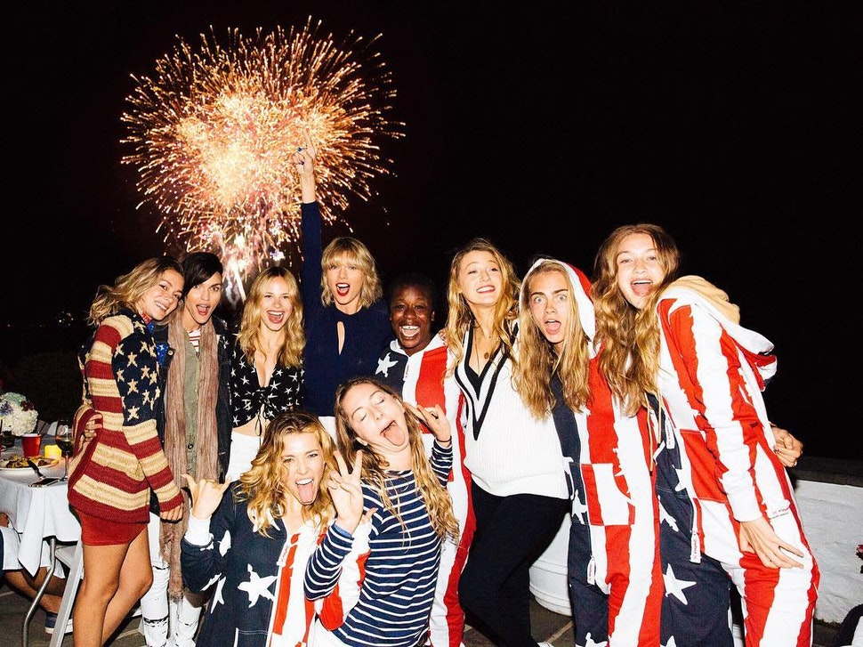taylor-swift-cara-delevingne-blake-lively-gigi-hadid-ruby-rose-harley-gusman-uzo-aduba-este-haim-wearing-onepiece-jumpsuit-onesie-usa-4th-of-july-independence-day-party-flag
