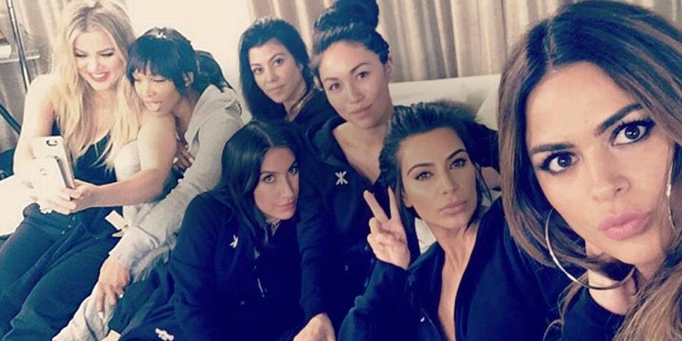 Kim Khloe Kourtney Kardashian wearing black onesies jumpsuits