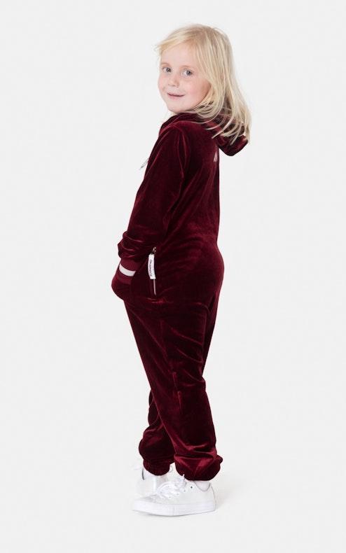 Onepiece Kids Velour Jumpsuit Red