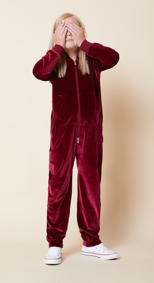 Onepiece Original Velour Kids jumpsuit Red