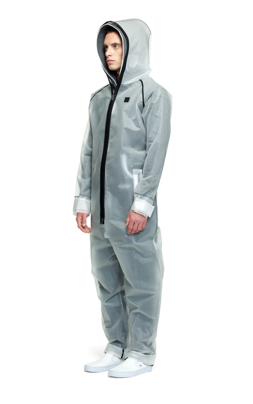 rain jumpsuit transparent frosted onesie onepiece. Black Bedroom Furniture Sets. Home Design Ideas