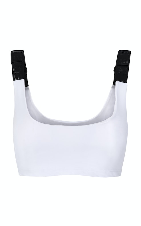 Onepiece Reef Crop Top Elastic White