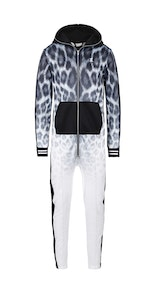 Onepiece Faded Leopard Jumpsuit Black/White