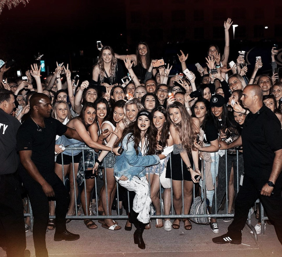 Selena Gomez wearing the crash jumpsuit white onesie onepiece