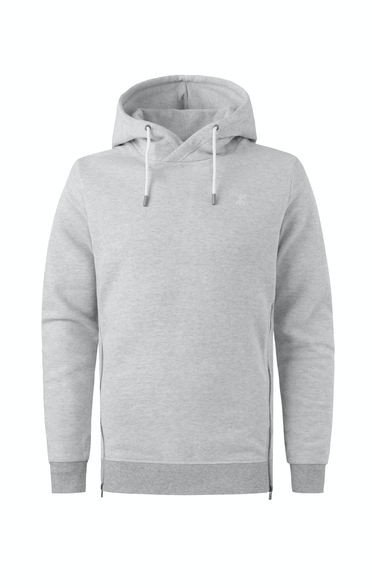 Slow Hoodie Nature Melange Grey Hoodie made of high quality cotton with a piqué structure on the outside and soft brushed inside lining, as well as metal side zipper details.