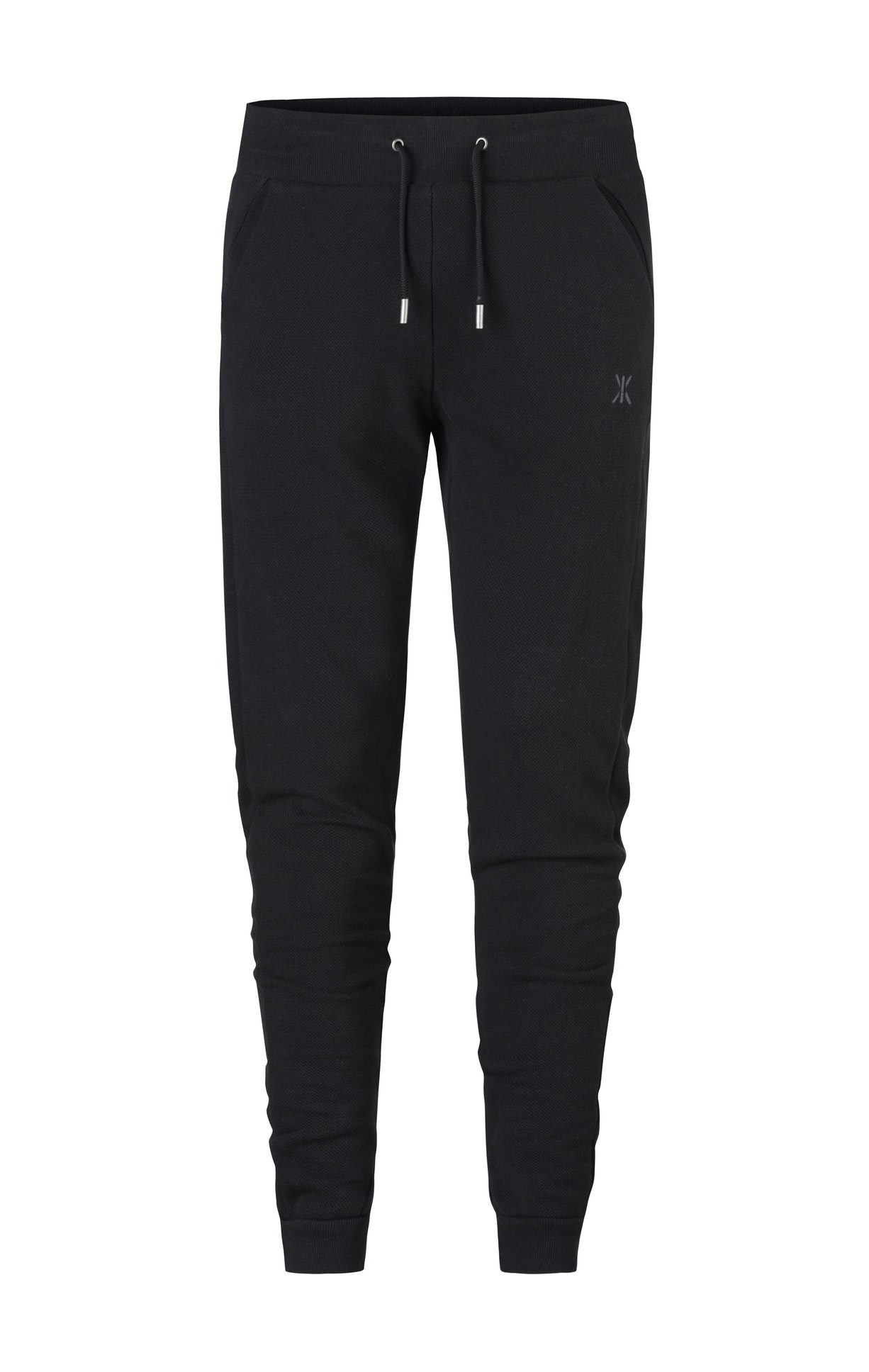 Slow Pant Black Fitted black jogger pant in premium cotton with piqué fabric structure and soft brushed inside. The jogger has an elastic waistband with drawstrings.