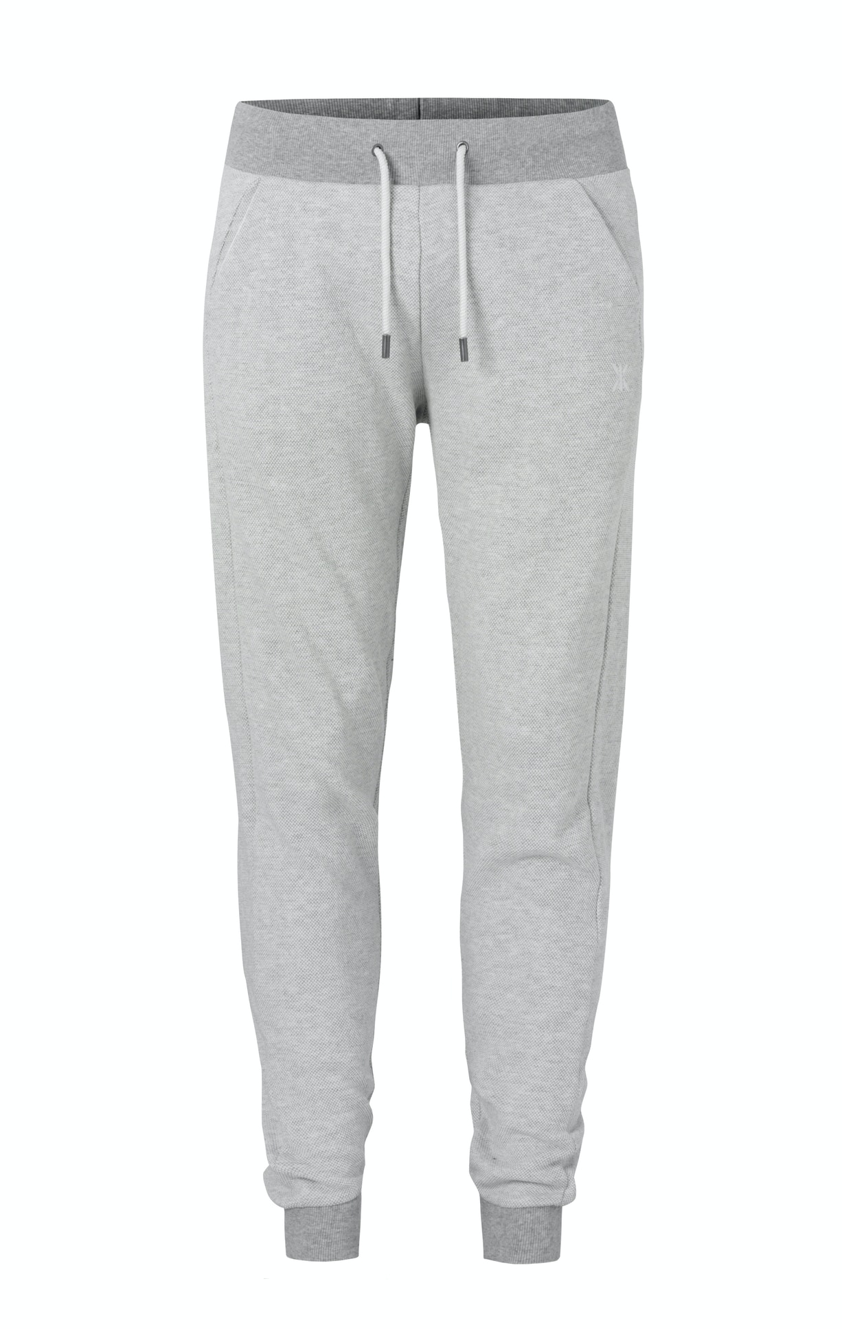 Slow Pant Nature Melange Fitted light grey jogger in high quality cotton with piqué fabric structure and soft brushed fabric on the inside. The pant has an elastic waistband with drawstrings.