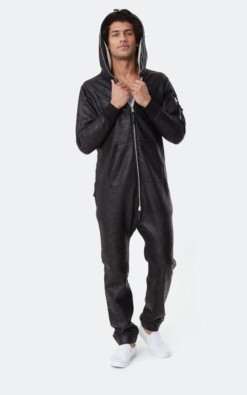 Onepiece Soft Bomber Jumpsuit Black
