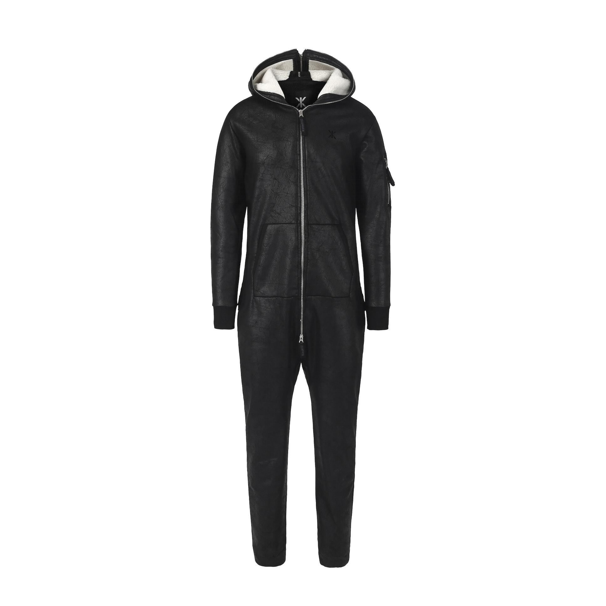 soft bomber jumpsuit black