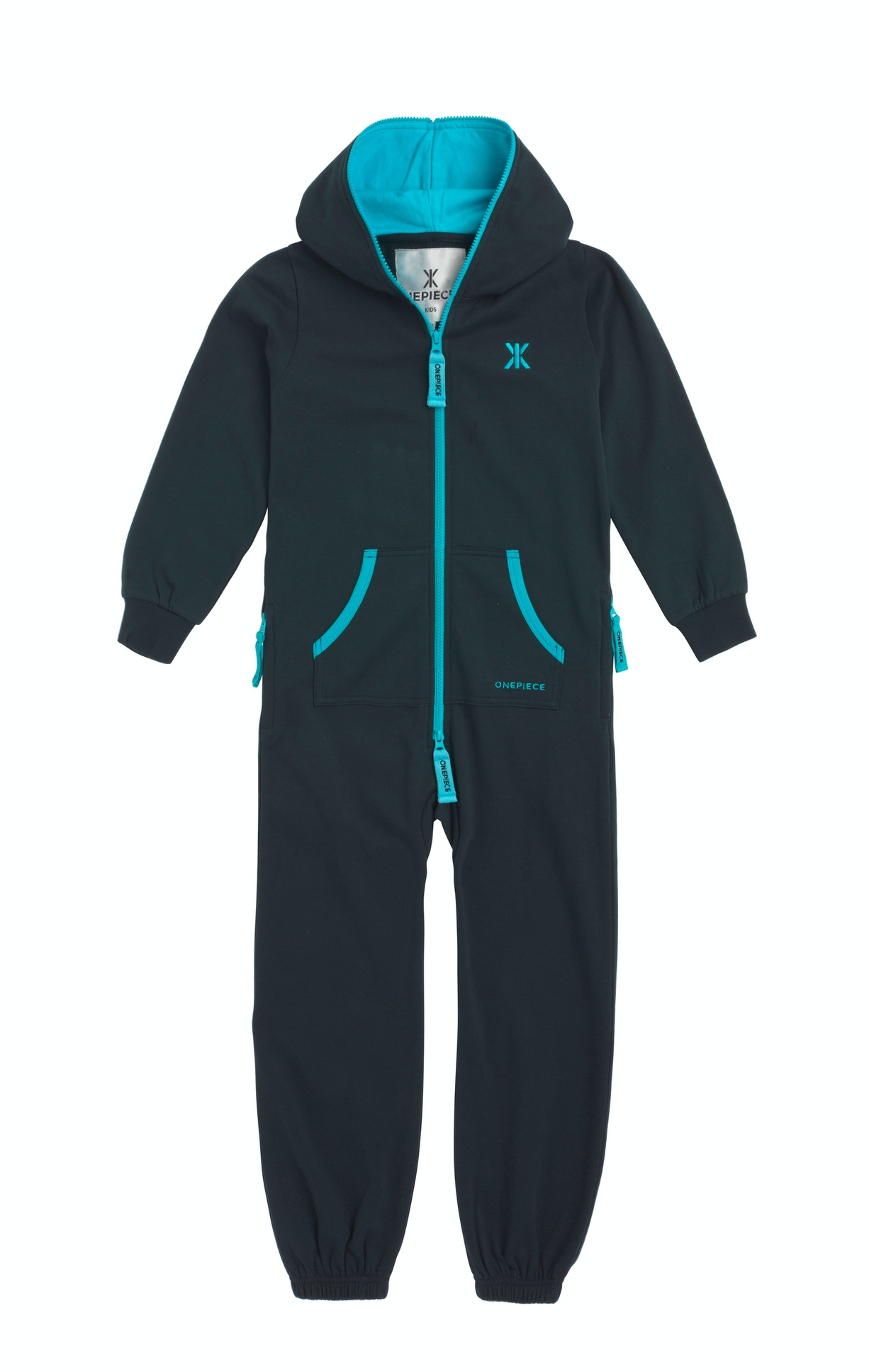 Solid Kids Jumpsuit Navy The Solid Kids Jumpsuit is made of super soft premium cotton with a two-way zipper starting from the crotch to the end of the hood.