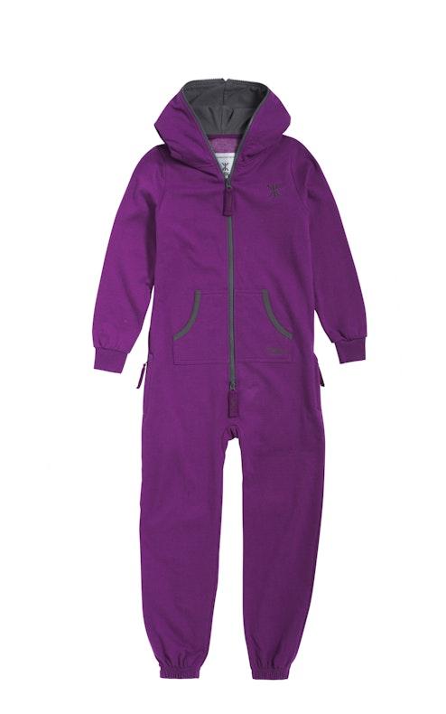 Onepiece Solid Kids Jumpsuit Purple Melange