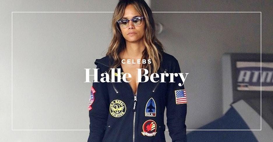 Halle Berry im Onepiece Aviator Onesie