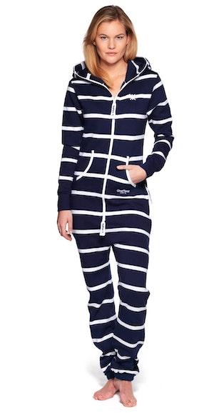 Onepiece Stripe Onesie Dress Blue / White