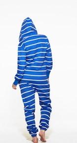 Onepiece Stripe Onesie Royal Blue/White